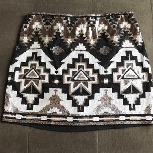 Black, White and Silver Sequence Aztec Print Skirt
